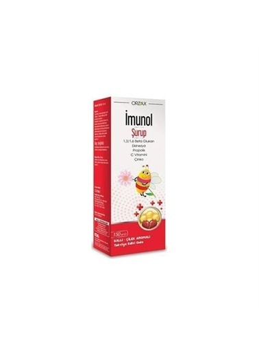 Orzax Orzax Imunol Şurup 150ml Beta Glukan, Ekinezya, Propolis, C Vitamini, Çinko İÇeren Takviye Edici Gıda Renksiz